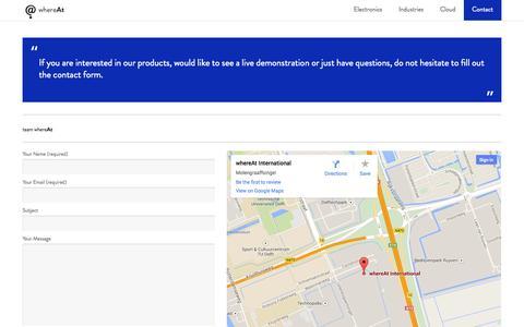 Screenshot of Contact Page whereatcloud.com - whereAt- Contact - captured Nov. 3, 2014