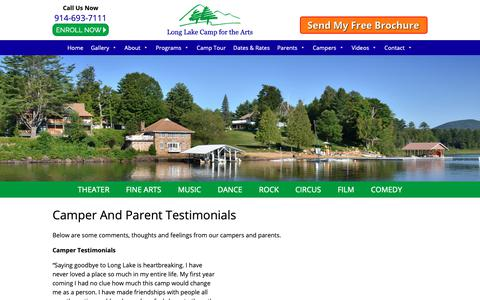 Screenshot of Testimonials Page longlakecamp.com - Camper and Parent Testimonials | Long Lake Camp For The Arts - captured Sept. 30, 2018