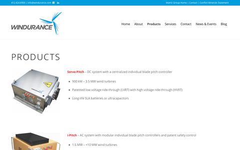 Screenshot of Products Page matric.com - Products | Wind Power Control | Blade Pitch Control | Windurance - captured Oct. 20, 2018