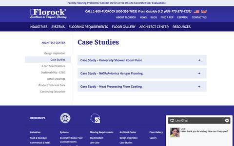 Screenshot of Case Studies Page florock.net - Architectural Case Studies for Epoxy Polymer Floor Coating - captured Feb. 10, 2016