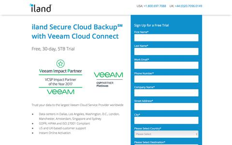 Screenshot of Trial Page iland.com - Veeam Cloud Connect - Free Trial - captured July 19, 2018