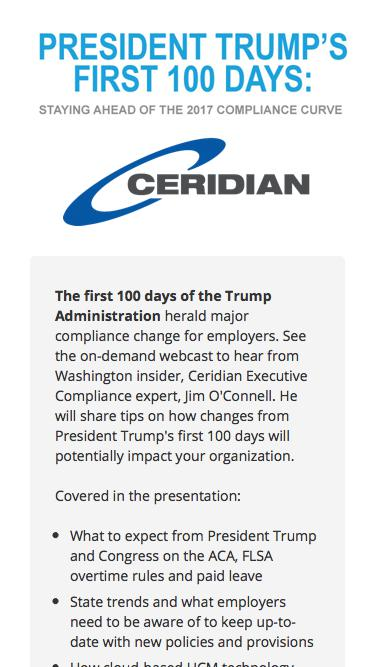 President Trump's First 100 Days: Staying Ahead of the 2017 Compliance Curve