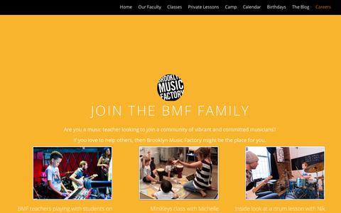 Screenshot of Jobs Page brooklynmusicfactory.com - Careers at Brooklyn Music Factory   BROOKLYN MUSIC FACTORY - captured Aug. 4, 2018