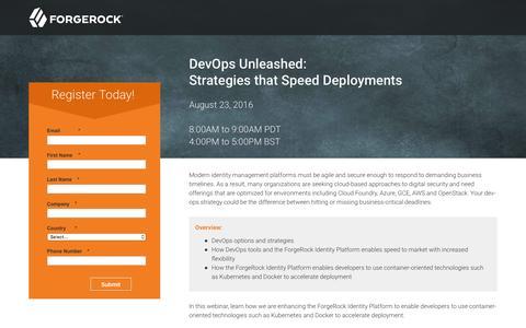 Screenshot of Landing Page forgerock.com - DevOps Unleashed: Strategies that Speed Deployments - captured Dec. 16, 2016