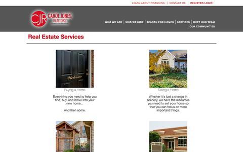 Screenshot of Services Page caroljones.com - Real Estate Services | Southwest Missouri | CJR Carol Jones Realtors - captured June 21, 2016