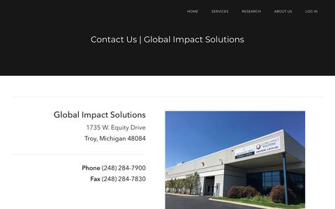Screenshot of Contact Page gistroy.com - Contact Us | Global Impact Solutions | Troy, MI - captured Jan. 18, 2018