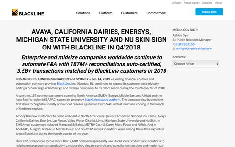 Screenshot of Press Page blackline.com - AVAYA, CALIFORNIA DAIRIES, ENERSYS, MICHIGAN STATE UNIVERSITY AND NU SKIN AMONG COMPANIES TO SIGN ON WITH BLACKLINE IN Q4'2018 - captured Nov. 29, 2019
