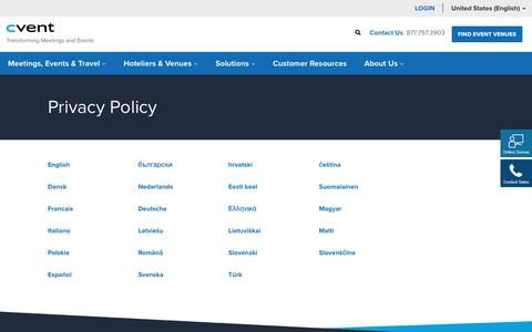 Screenshot of Privacy Page cvent.com - Privacy Policy | Cvent - captured Oct. 6, 2017