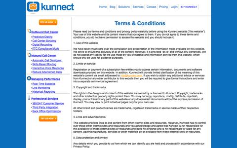 Screenshot of Terms Page kunnect.com - Kunnect - Hosted Call Center Software - captured Sept. 30, 2014
