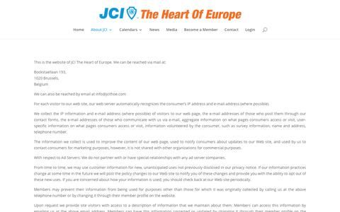 Screenshot of Privacy Page jcithoe.com - Privacy Policy - JCI The Heart Of Europe - captured Oct. 3, 2017