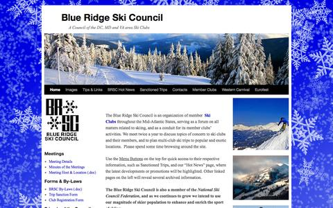 Screenshot of Home Page skicouncil.com - Blue Ridge Ski Council | A Council of the DC, MD and VA area Ski Clubs - captured Oct. 5, 2014