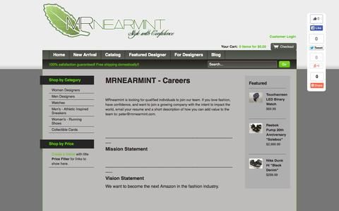 Screenshot of Jobs Page mrnearmint.com - MRnearmint — MRNEARMINT - Careers - captured Nov. 5, 2014