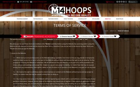 Screenshot of Terms Page m14hoops.com - Terms of Service - M14 Hoops - captured Sept. 30, 2014