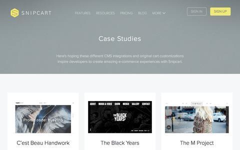 Screenshot of Case Studies Page snipcart.com - Case Studies - Snipcart - captured July 9, 2016