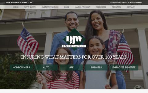 Screenshot of Home Page djwinsurance.com - Insurance Agency in New Iberia and Broussard, Louisiana - DJW Insurance Agency, Inc. - captured Oct. 7, 2018