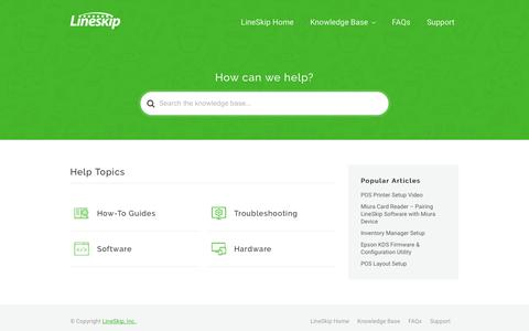 Screenshot of Support Page lineskipapp.com - LineSkip Support - Support for LineSkip products. - captured Sept. 29, 2018