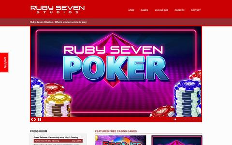 Screenshot of Home Page rubyseven.com - Ruby Seven Studios - Where winners come to play - captured Oct. 2, 2014