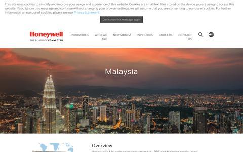 Screenshot of honeywell.com - Honeywell Malaysia| Worldwide - captured June 23, 2017