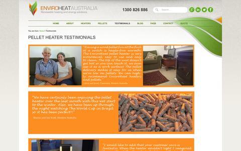 Screenshot of Testimonials Page enviroheat.net.au - Testimonials - EnviroHeat Australia - captured Oct. 3, 2014