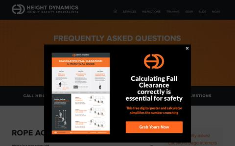 Screenshot of FAQ Page heightdynamics.com.au - Frequently Asked Questions - Height Dynamics - captured Oct. 22, 2019