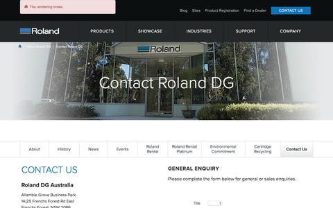 Screenshot of Contact Page rolanddg.com.au - Contact Roland DG   Roland DG Australia - captured Nov. 13, 2017