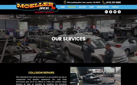 Screenshot of Services Page moellerbros.com - Auto Body | San Leandro, CA | Moeller Bros. Body Shop - captured Nov. 19, 2018