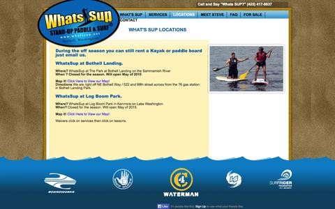 Screenshot of Locations Page whatssup.net - Seattle Bothell Kirkland Stand Up Paddle Board Rentals| What'sSUP - captured Oct. 26, 2014