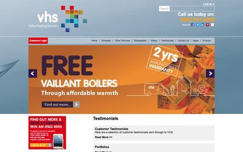 Screenshot of Testimonials Page vhsgroup.co.uk - Valley Heating Services Testimonials - captured Oct. 27, 2014