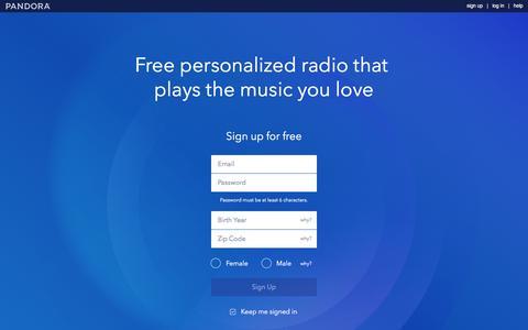 Screenshot of Signup Page pandora.com - Pandora Internet Radio - Listen to Free Music You'll Love - captured Aug. 31, 2016