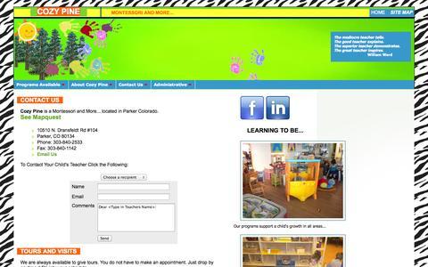 Screenshot of Contact Page cozypine.com - Cozy Pine - Montessori School in Parker, Colorado - captured Oct. 27, 2014
