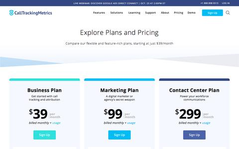 Screenshot of Signup Page Pricing Page calltrackingmetrics.com - (2) New Messages! - captured Oct. 17, 2019