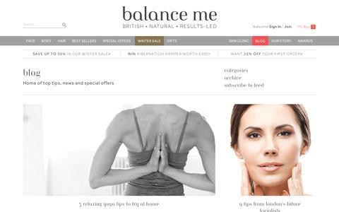 Screenshot of Blog balanceme.co.uk - Blog-Balance Me - captured Jan. 20, 2016