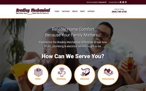 Screenshot of Home Page bradleymechanicalva.com - Heating & Air Conditioning Service, Repair & Installation - Richmond VA   Bradley Mechanical   HVAC & Plumbing Experts - captured Oct. 6, 2018