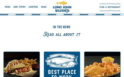 Screenshot of Press Page ljsilvers.com - Long John Silver's  » News - captured July 19, 2019