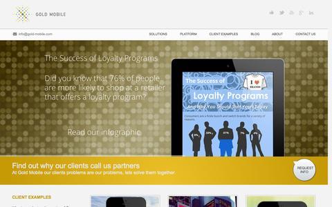 Screenshot of Home Page gold-mobile.com - Engage | Transact | Reward - captured Sept. 30, 2014