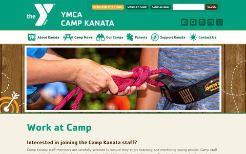 Screenshot of Jobs Page campkanata.org - Work at Camp | Camp Kanata - captured Sept. 22, 2018