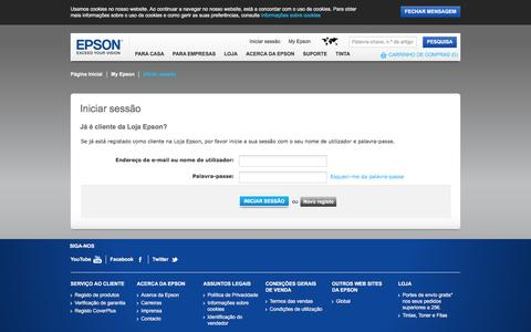 Screenshot of Login Page epson.pt - Iniciar sessão - Epson - captured Jan. 23, 2016