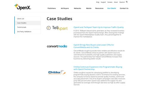 Screenshot of Case Studies Page openx.com - Case Studies: How Digital Media Companies Maximize Ad Revenue - captured July 20, 2014