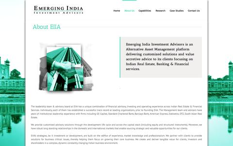 Screenshot of About Page emerging-india.in - Emerging India Investment Advisors   –  About Us - captured Oct. 2, 2014