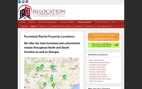 Screenshot of Locations Page temp-housing.com - Furnished Rental Property Locations - Relocation & Corporate Concepts - captured Feb. 14, 2016