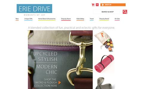 Screenshot of Home Page eriedrive.com - A blended collection of modern home decor items and gifts. Shop now! | Erie Drive - captured Sept. 26, 2014