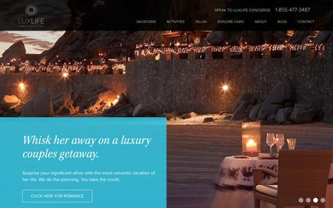 Screenshot of Home Page luxlifevacations.com - Luxury Cabo San Lucas Vacations | LuxLife Vacations - captured Sept. 30, 2014