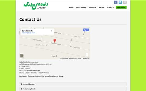 Screenshot of Contact Page sebafoods.co.zm - Seba Foods | Contact Us - captured Oct. 4, 2014