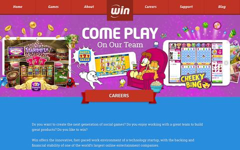 Screenshot of Jobs Page win.com - Careers at Win.com - Come play on our team! - Win.com - captured Nov. 4, 2014