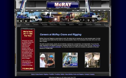 Screenshot of Jobs Page mcraycrane.com - Contact McRay Crane and Rigging - captured Oct. 27, 2014