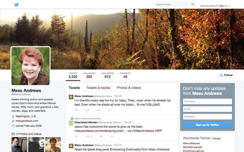 Screenshot of Twitter Page twitter.com - Mesu Andrews (@MesuAndrews) | Twitter - captured Oct. 27, 2014