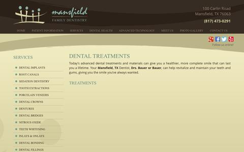 Screenshot of Services Page mansfielddentistry.com - Dental Treatments in Southeast Arlington | Mansfield Dental Treatments | Dental Treatments 76063 | mansfielddentistry - captured Nov. 19, 2016