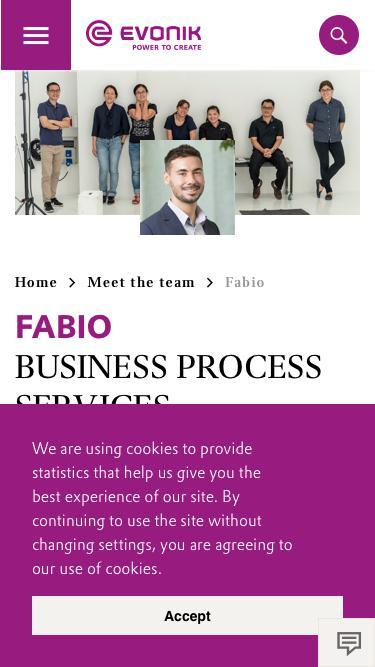Screenshot of Team Page  evonik.com - Fabio                                                                - Evonik Careers