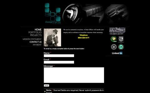 Screenshot of Contact Page jimdo.com - Contact us - abcassignments.com - captured Sept. 16, 2014