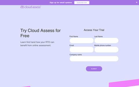 Screenshot of Trial Page cloudassess.com.au - Trial Request Page - captured Dec. 8, 2018